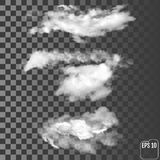 Set of transparent different clouds. Vector illustration. stock illustration