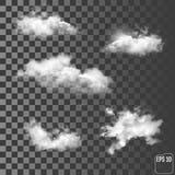 Set of transparent different clouds. Vector illustration. royalty free illustration