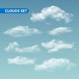 Set of transparent different clouds. Vector. Illustration EPS 10 Stock Photo