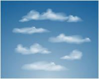 Set of transparent different clouds. Vector. Stock Photography