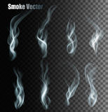 Set Of Transparent Different Smoke Vectors. Royalty Free Stock Images