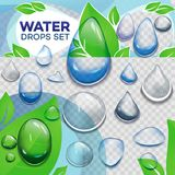Set of transparent drops of different forms in dark blue colors. Vector illustration Royalty Free Stock Photography