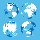 Set of transparent Earth globes with blue and white land silhouette map. Vector illustration Stock Photography