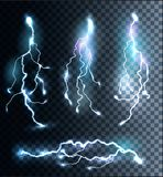 Set of transparent electric lightning bolts. Stock Photography