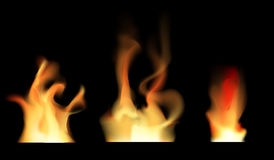 Set of transparent fire on black  illustration. Transparent fire ornament on  illustration.Realistic fire flame with transparency isolated on black background Royalty Free Stock Photo