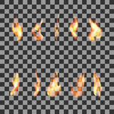 Set 10 transparent fire flames Stock Photo