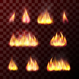 Set of transparent flame effects Royalty Free Stock Images