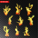 Set of transparent flame vectors. Realistic fire design elements Royalty Free Stock Image