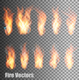 Set of transparent flame vectors. Stock Images