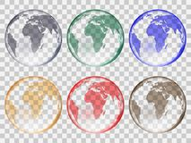 Set of transparent glass balls in the form of planet earth of different colors. Realistic style. vector illustration royalty free illustration
