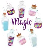 Transparent glass bottles set with liquid space and magic liquid. Set of transparent glass bottles with liquid space and magic liquids. Cartoon jars with Royalty Free Illustration