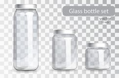 Set of transparent glass bottles. Realistic banks. Empty glass jars of different sizes on a transparent background. Set of cans for drinks and juices. The new royalty free illustration