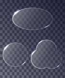 Set of transparent glass circular banners with glare. Royalty Free Stock Images