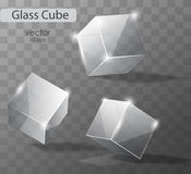 Set on a transparent glass cubes. In different angles. Realistic vector object Stock Images