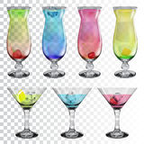 Set of transparent glass goblets with cocktails Royalty Free Stock Images