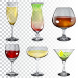Set of transparent glass goblets with different drinks vector illustration