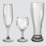 Set of transparent glass goblets stock illustration
