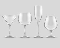 Set of transparent glass goblets vector Stock Photography