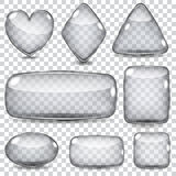 Set of transparent glass shapes Stock Images