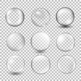 Set of transparent glass sphere with glares and highlights. Vector illustration with transparencies, gradient and effects. Realistic glossy orb, water soap Royalty Free Stock Images