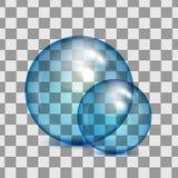 Set of transparent glass spheres on a plaid background. Transparent bubbles royalty free illustration