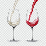 Set transparent glasses with white and red wine Royalty Free Stock Photos