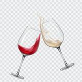 Set transparent glasses with white and red wine. Set transparent vector glasses with white and red wine vector illustration