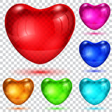 Set of transparent glossy hearts Stock Photo