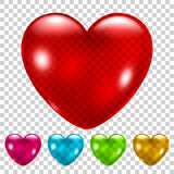Set of transparent hearts Royalty Free Stock Photo
