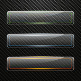 Set of transparent horizontal glass banners with colored light effect on Carbon background. Vector illustration Royalty Free Stock Photography
