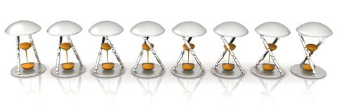 Set of transparent hourglass for animation. Royalty Free Stock Photos