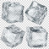 Set of transparent ice cubes Stock Images