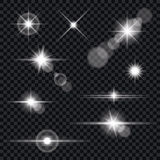 Set of Transparent Lens Flares and Lighting Effects. Vector illustration of light effects and lens flares. EPS10