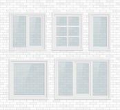 Set of transparent metal plastic windows Royalty Free Stock Photography