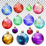 Set of transparent and opaque Christmas balls with snowflakes. In various colors and sizes Stock Images