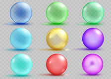 Set of transparent and opaque colored spheres with shadows. And glares on transparent background. Transparency only in vector file Royalty Free Stock Photos