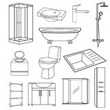 Set transparent outline icons of sanitary ware for the bathroom of the toilet and kitchen. Vector items mirror, kitchen sink, shower, washbasin, bath, faucet Royalty Free Stock Image