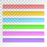 Set of transparent plastic 30 centimeter rulers in different col Stock Images