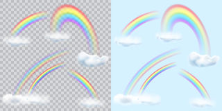 Set of transparent rainbows with clouds on transparent and light. Blue background. Transparency only in vector format Stock Images
