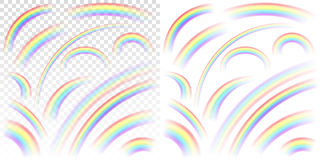Set of transparent rainbows in various sizes and shapes on trans. Parent and white background. Transparency only in vector format Royalty Free Stock Photos