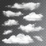 Set of transparent realistic clouds. Vector illustration Royalty Free Stock Photos