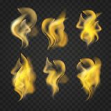 Set of transparent realistic fire flames. Collection of transparent realistic fire flames isolated on dark background. Light effects set for design Stock Photo