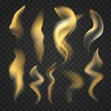 Set of transparent realistic fire flames. Collection of transparent realistic fire flames isolated on dark background. Light effects set for design Royalty Free Stock Photo