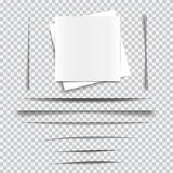 Set of transparent realistic paper shadow effects Stock Photography