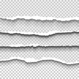 Set of transparent realistic ripped paper shadow effects Stock Image