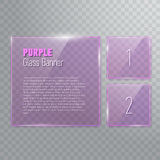 Set of transparent reflecting square purple glass banners Royalty Free Stock Images