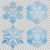Set of transparent snowflakes. Of different shapes Royalty Free Stock Photos