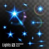 Set of transparent stars Royalty Free Stock Image