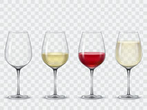 Set Transparent Vector Wine Glasses Royalty Free Stock Photos