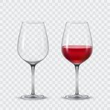 Set transparent vector wine glasses Stock Photo